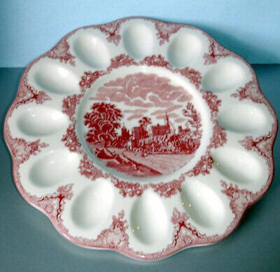 Johnson Brothers Old Britain Castles Pink Deviled Egg Serving Plate Dish New