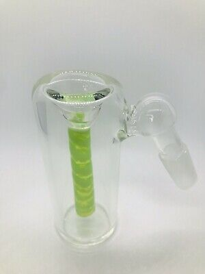 Glass Ash Catcher bowl 14mm Male Green Slime Color Downstem  Fixed