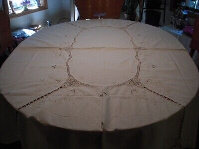 """Perfect Fall Ecru Oval Embroidered with Crochet Inserts Tablecloth - 62"""" by 82"""""""