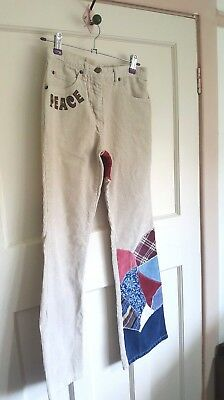 Mary-Kate and Ashley Cream Cords Flared Trousers Hippy 'Peace' Age 11 - 12