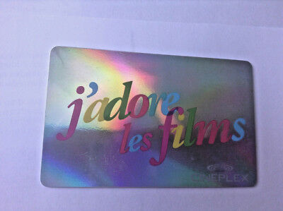 CINEPLEX MINT GIFT CARD J adore les films NO VALUE RECHARGEABLE !