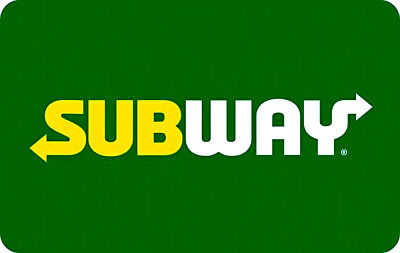 """Subway Gift Card """" Green """" No Value New! Rechargeable"""