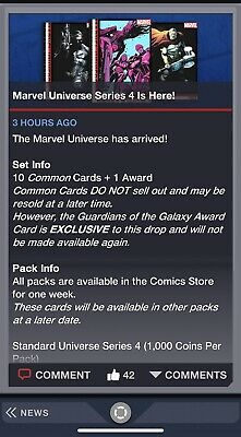 UNIVERSE SERIES 4 SET OF 10 CARDS AWARD READY Topps Marvel Collect Digital