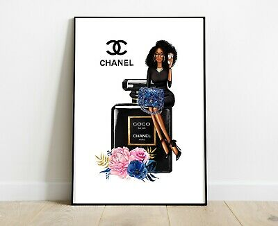 Coco Chanel Lady Print For Home Decor Dressing Room Prints A4 Black Bottle