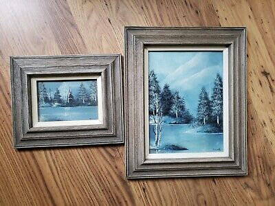 Winter Scene Canvas Paintings by B. A. Wolf 1979