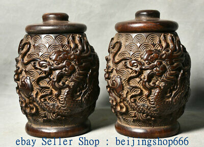 """6"""" Old Chinese Red Wood Carved Palace Feng Shui Dragon Pot Jar Crock Pair"""