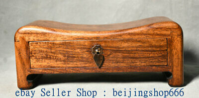 "10"" Collect Old Chinese Huanghuali Wood Carving Dynasty 1 Drawer Pillow"