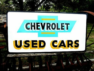 "Vintage Metal Chevy CHEVROLET USED CARS Truck Gas Oil 36"" Car Auto Sales Sign @@"