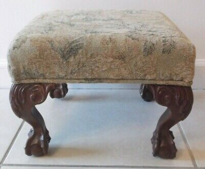 Antique Style Queen Anne Inspired Ball And Claw Footed Footstool