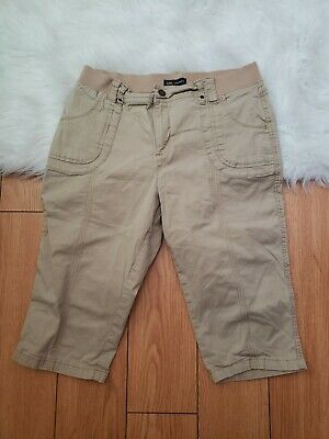 Lee 12M Size Cargo Pants Crop Relaxed Fit Low Rise Womens Chinos Cotton Beige