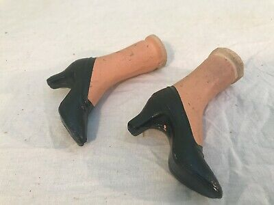 Antique paper mache doll legs and shoes very old n nice !