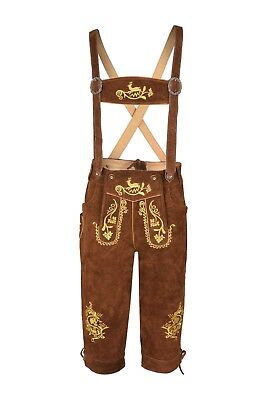 Men,s Brown  Long LEDERHOSEN Real Suede Leather with Matching Suspenders