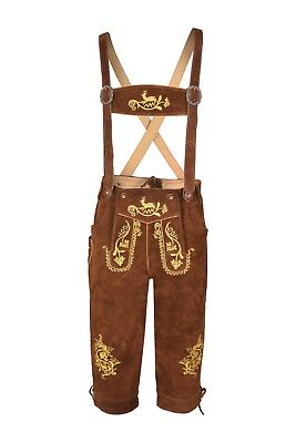 Men,s Brown  Long LEDERHOSEN Real Suede Leather with Matching Suspender