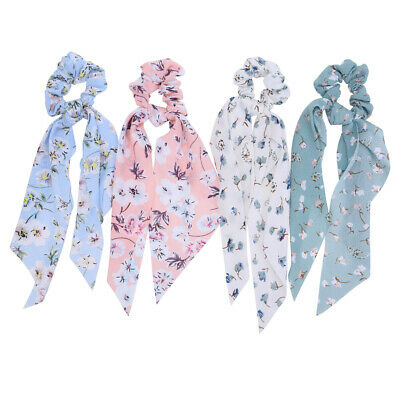 12PCS Soft Chiffon Hair Scrunchies Elastic Ribbon Bow Scarf Ponytail Holder D2W7