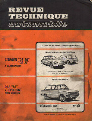 RTA revue technique automobile n° 351 DAF 466 volvo