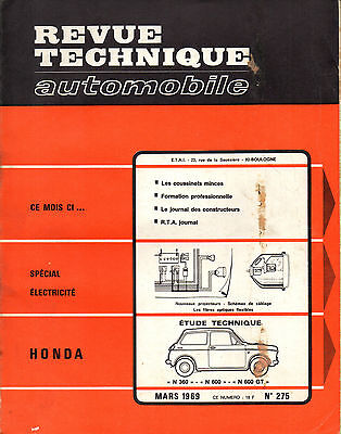 RTA revue technique automobile  n° 275 HONDA N 360 600 GT N360 N600 1969