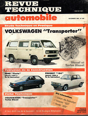 RTA revue technique automobile N° 509 VOLKSWAGEN TRANSPORTER