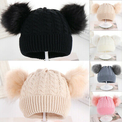 Baby Pom Pom Hat Bobble Beanie Double Knitted Boy Girl Infant Newborn-24 Months