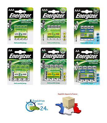 Piles rechargeables accu ENERGIZER AAA/AA HR03/HR6 500 à 2300 mAh PRIX DEGRESSIF