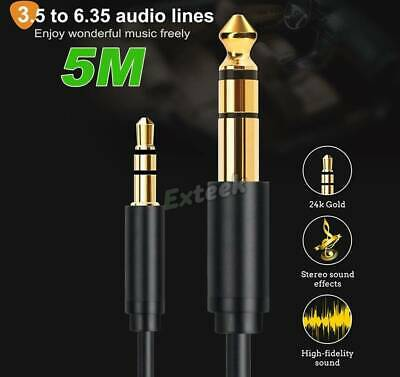 3.5mm To 6.5mm Male Stereo Amplifier Guitar Cable Audio Lead 5M