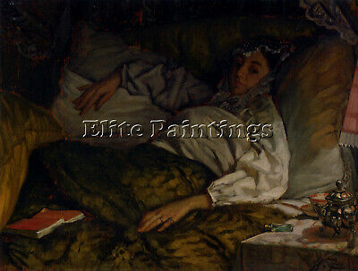 Tissot James Jacques Joseph Reclining Lady Artist Painting Oil Canvas Repro Deco