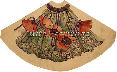 Tiffany Working Drawing For Poppy Shade Artist Painting Oil Canvas Repro Art