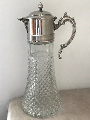Vintage Georgian Style Crystal & Silver Plate Claret Jug Decanter Gift Present