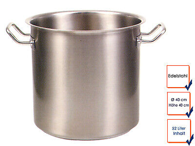 Vegetable Stew Soup Pot Cooking Professional Quality Stainless Steel 52L Ø 40cm