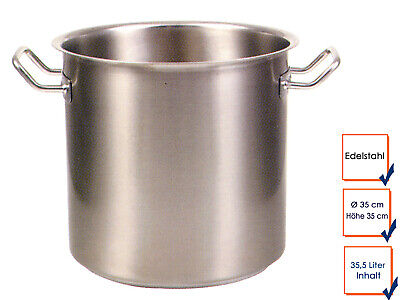 Vegetable Stew Soup Pot Cooking Professional Quality Stainless Steel 35,5L Ø35cm