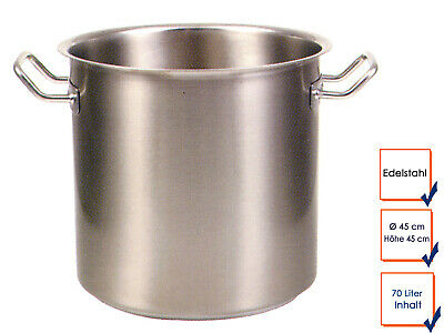 Vegetable Stew Soup Pot Cooking Professional Quality Stainless Steel 70L Ø 45cm