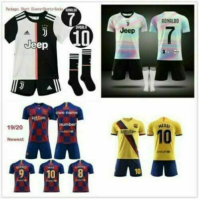 19/20 Kids Boys Football Full Kit Youth Jersey Strips Soccer Sports Outfit