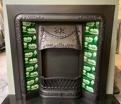 Original Antique Art Nouveau cast iron Fireplace Insert Lily Majolica Tiles