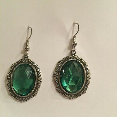 Victorian Style Silver Plated Mid Green Acrylic Crystal Oval Drop Earrings Hook