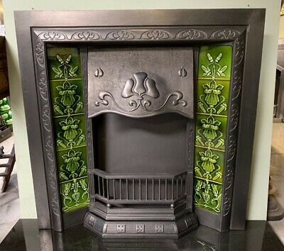 Original Antique Art Nouveau cast iron Fireplace Insert Nouveau Majolica Tiles