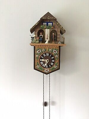 Vintage Clock German Black Forest With Weather House People & Thermometer WORKS