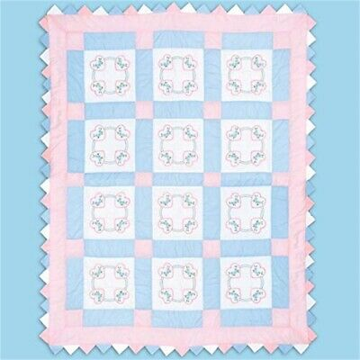 "Jack Dempsey Stamped White Quilt Blocks 9""x9"" 12/pkg-hearts"