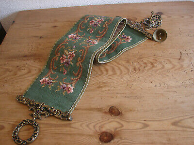 Old Bellpull, Tapestry Embroidery and Brass