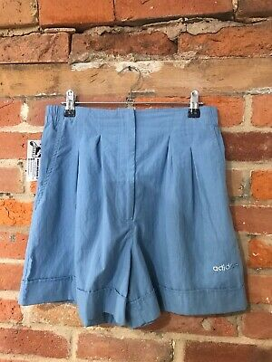 VINTAGE WOMEN'S ADIDAS HIGH WAISTED SHORTS SIZE 10 12 MID BLUE ORIGINAL (ct7)