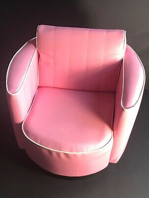 Dunelm Childs Pink/White Faux Leather Spinning/Moving Armchair/Seat/Padded