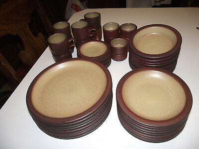 48pc 8ppl MOJAVE HEATH Dinner Plate RED &TAN Stoneware 1990 EXC Ceramics Pottery