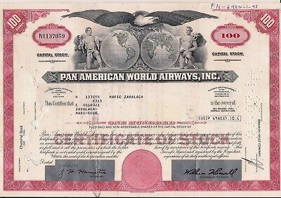 Stock certificate Pan AM - Pan American World Airways, Inc. + document red