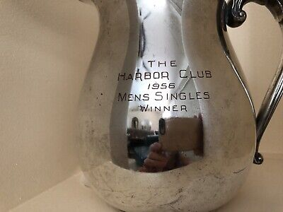 Vintage Arts Co Silver Plated Trophy Pitcher 1956 The Harbor Club