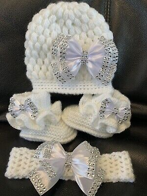 NEW hand knitted  Romany Bling baby girl booties/hat and headband  0-3 months