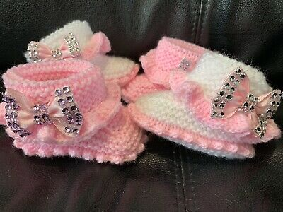 Hand knitted Romany Bling baby booties 2- Set  0-3months