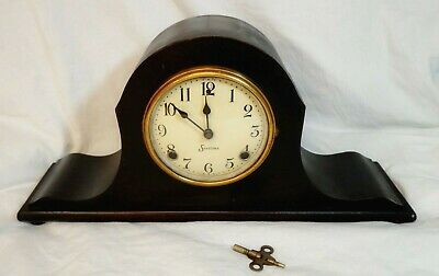 """Antique 1925 Sessions Tambour Mantel Clock Wind Up """"Suprise"""" Model With Label"""