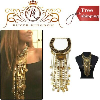 Bohemian Statement Necklace With Pendants Metal Alloy Non-Allergic Gold Color