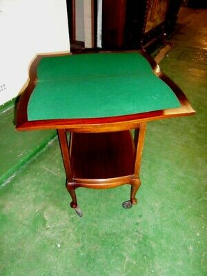 Queen Anne Style Mahogany Turn Over Top Tea Trolley With Games Area