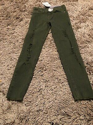 New Tagged Zara Girls Casual Collection Ripped Khaki Jeans Age 8