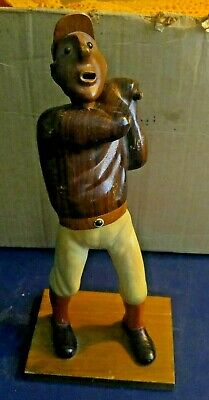 Antique Folk Art Carved Black Baseball Player Statue One of a Kind Unique Rare