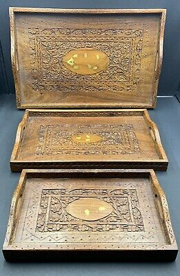 3 India Hand Carved Wood Chip-Floral Pattern Brass Inlay Serving Trays